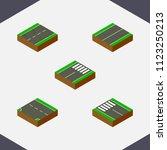 isometric way set of flat  foot ... | Shutterstock .eps vector #1123250213