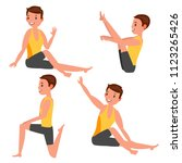 yoga male vector. stretching... | Shutterstock .eps vector #1123265426