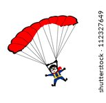 man jumping with parachute | Shutterstock .eps vector #112327649