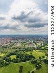 Small photo of Munich, Germany - June 09, 2018: High angle view over Munich. Panorama of Munich, Germany.
