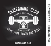 skateboard club badge on the... | Shutterstock .eps vector #1123281248