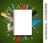 back to school theme. notebook... | Shutterstock .eps vector #1123282808