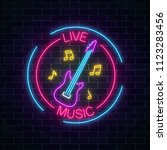 neon sign of bar with live... | Shutterstock . vector #1123283456