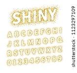 uppercase regular display font... | Shutterstock .eps vector #1123297109