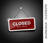 closed signs hanging with chain ... | Shutterstock .eps vector #112330193