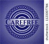 carefree emblem with jean... | Shutterstock .eps vector #1123307786
