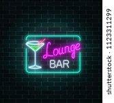 neon cocktails lounge bar sign... | Shutterstock . vector #1123311299
