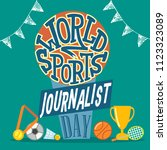 world sports journalist day | Shutterstock .eps vector #1123323089