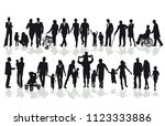group of family and member... | Shutterstock .eps vector #1123333886