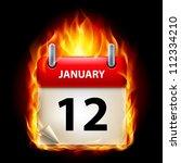 twelfth january in calendar....   Shutterstock .eps vector #112334210