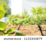 desk of free space and summer... | Shutterstock . vector #1123343879