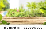 desk of free space and summer... | Shutterstock . vector #1123343906