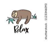 cool cartoon summer print with... | Shutterstock .eps vector #1123346093