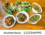 set of thai food  stir fried ... | Shutterstock . vector #1123346990