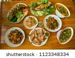 set of thai food  stir fried ... | Shutterstock . vector #1123348334