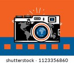 travel photography camera with... | Shutterstock .eps vector #1123356860