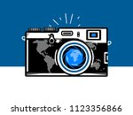 travel photography camera with... | Shutterstock .eps vector #1123356866