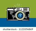 travel photography camera with... | Shutterstock .eps vector #1123356869