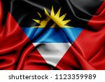 antigua and barbuda fabric flag ... | Shutterstock . vector #1123359989