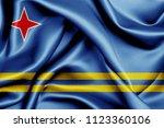 aruba fabric flag waving 3d... | Shutterstock . vector #1123360106