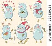 funny snowmans. cartoon vector... | Shutterstock .eps vector #112339196