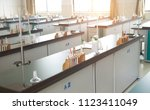empty chemistry laboratory in a ... | Shutterstock . vector #1123411049