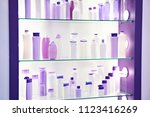 showcase shop with plastic... | Shutterstock . vector #1123416269