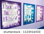 showcase shop with plastic... | Shutterstock . vector #1123416533