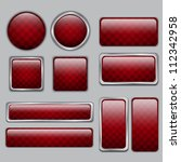 glossy red checkered web buttons   Shutterstock .eps vector #112342958