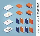vector isometric set of books.... | Shutterstock .eps vector #1123429703