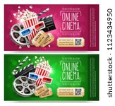 cinema flyers  banners with... | Shutterstock . vector #1123434950