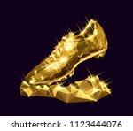 3d illustration golden soccer... | Shutterstock .eps vector #1123444076