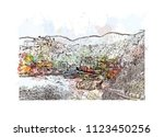cinque terre is a string of... | Shutterstock .eps vector #1123450256