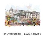 cinque terre is a string of... | Shutterstock .eps vector #1123450259