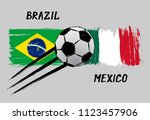 flags of brazil and mexico  ... | Shutterstock .eps vector #1123457906