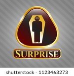 gold shiny emblem with dead...   Shutterstock .eps vector #1123463273