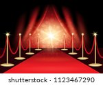 red carpet with award stage ... | Shutterstock .eps vector #1123467290