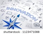 innovation concept with blue... | Shutterstock . vector #1123471088