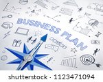 business plan concept with blue ... | Shutterstock . vector #1123471094
