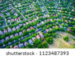 curved green roads and streets... | Shutterstock . vector #1123487393