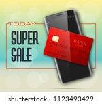 smartphone sale banner   credit ... | Shutterstock . vector #1123493429