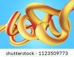 geometric yellow wires 3d... | Shutterstock . vector #1123509773