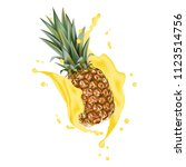 pineapple 3d with realistic...   Shutterstock . vector #1123514756