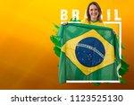 brazilian woman fan ... | Shutterstock . vector #1123525130