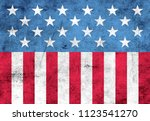 usa flag elements on metal... | Shutterstock . vector #1123541270