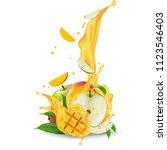 juice milk yogurt apple and... | Shutterstock . vector #1123546403