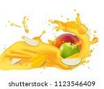 yellow juice 3d illustration... | Shutterstock . vector #1123546409