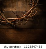an authentic crown of thorns on ... | Shutterstock . vector #1123547486