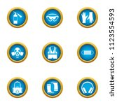 safety icons set. flat set of 9 ... | Shutterstock .eps vector #1123554593