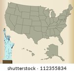 Usa Map With Statue Of Liberty